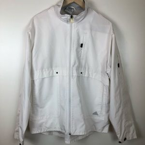 Adidas Old School White Windbreaker Jacket M